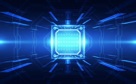 Illustration pour Abstract technology chip processor background circuit board and code, illustration blue technology background vector. - image libre de droit