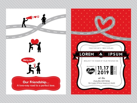 Wedding Invitation Card Template With Cute Groom And Bride