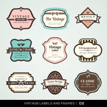 Vector set of calligraphic Vintage labels and frames design elementsのイラスト素材
