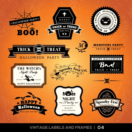Collection of Halloween Labels and frames with retro vintage styled design