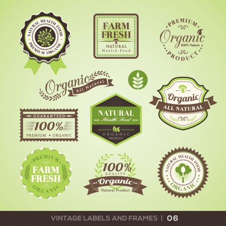Collection of Fresh Organic Product Labels with retro vintage styled designのイラスト素材
