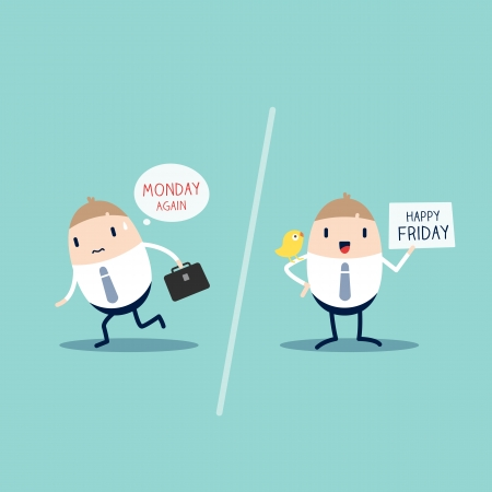 Worker expression on Monday VS Friday