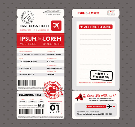 Modern Boarding Pass Ticket Wedding Invitation graphic design vector Template