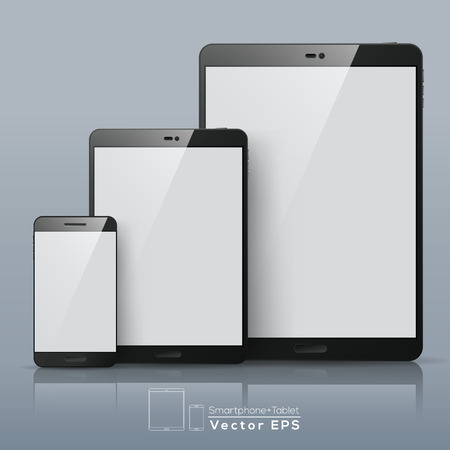 Set of Vector Smart phone and Tablet with blank screen
