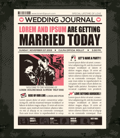 Newspaper Style Wedding Invitation Vector Design Template