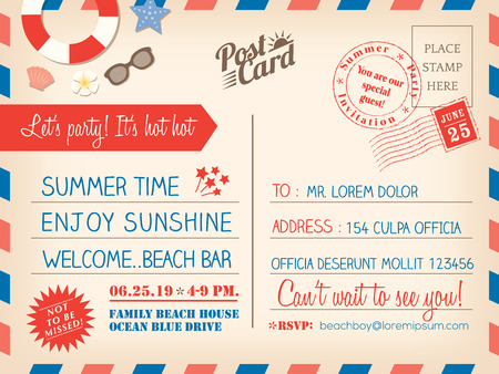 Vintage summer holiday postcard background vector template for invitation card