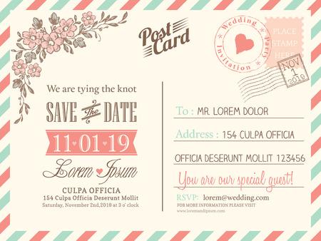 Vintage postcard background vector template for wedding invitation