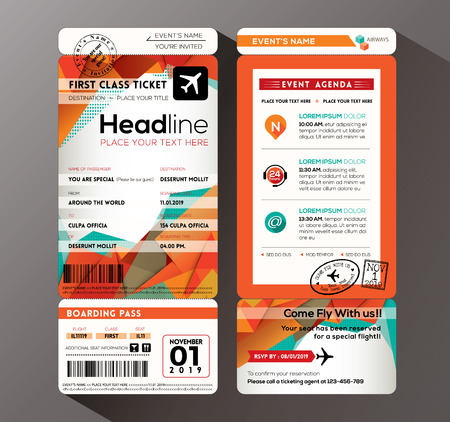 Illustration pour Modern design Boarding Pass Ticket Event Invitation card vector Template - image libre de droit