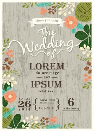 Foto de Vintage wedding invitation card with cute flourish background - Imagen libre de derechos
