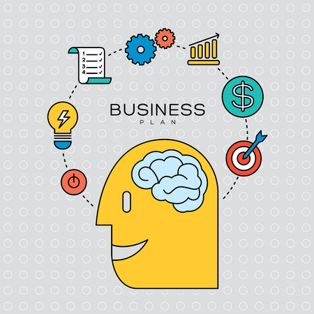 business plan concept outline icons illustration
