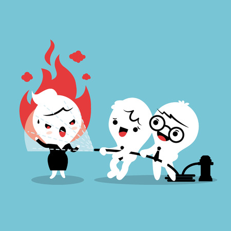 Friends helping by spray water with fire hose to calm down angry woman concept cartoon illustration