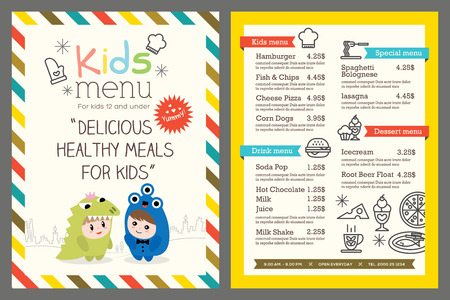 Illustration pour Cute colorful kids meal menu template - image libre de droit