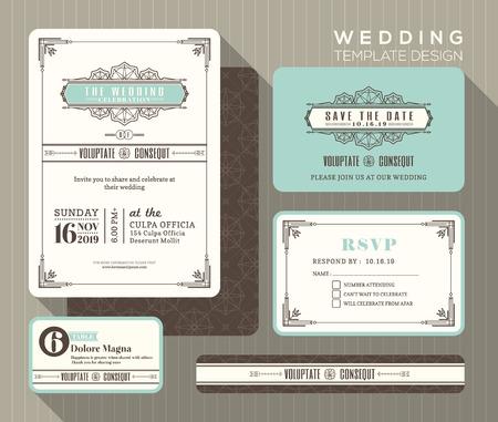 Vintage art deco wedding invitation set design Template place card response card save the date card