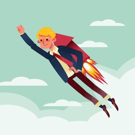 businessman flying with rocket backpack cartoon illustration