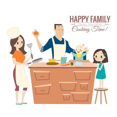 happy family with parents and children cooking in kitchen vector cartoon illustration