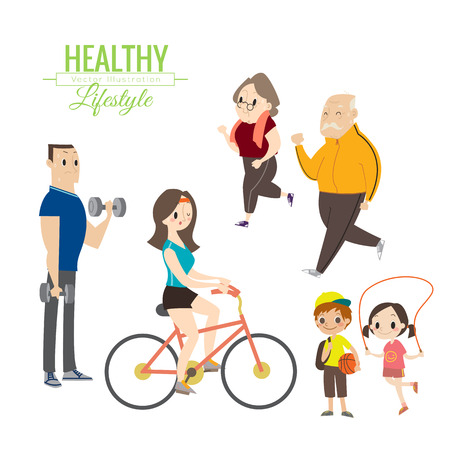 Foto de healthy lifestyle happy family exercising vector cartoon illustration - Imagen libre de derechos