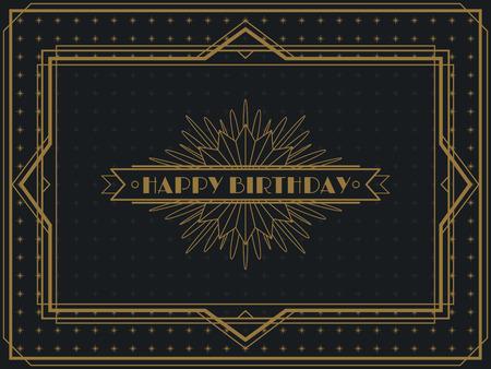 Illustration for Vintage Art Deco Happy Birthday card frame design template - Royalty Free Image