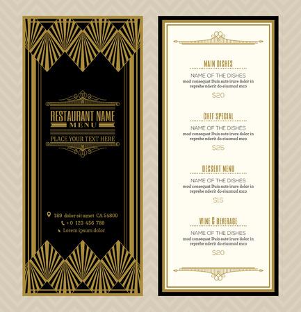 Illustration pour Restaurant or cafe menu design template with vintage retro art deco frame style - image libre de droit