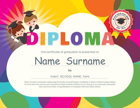 Ilustración de Preschool Elementary school Kids Diploma certificate background design template - Imagen libre de derechos