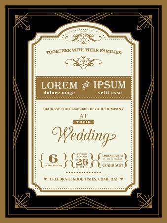 Illustration for Vintage Wedding invitation border and frame template - Royalty Free Image