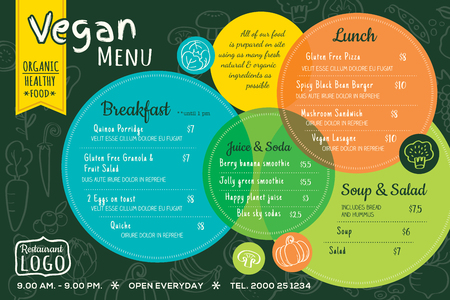 colorful organic food vegan restaurant menu board or placemat vector template