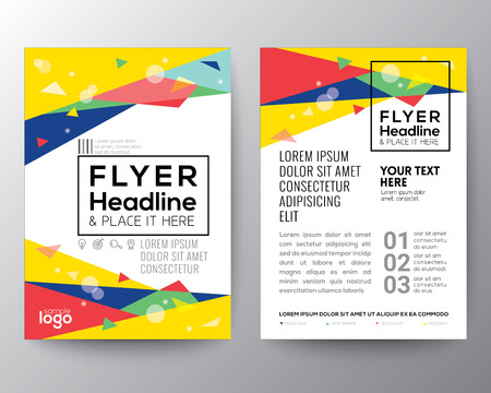 Illustration for Abstract 80's style Triangle shape background for Poster Brochure Flyer design Layout vector template in A4 size - Royalty Free Image