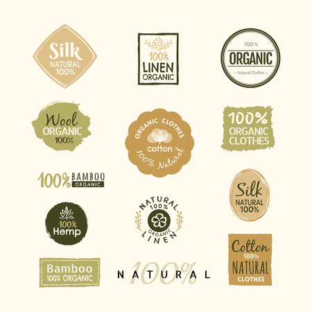 Set of hand drawn organic clothes label badge design vector template