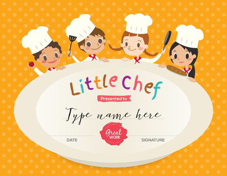 Illustration for Kids Cooking class certificate design template with little chef cartoon illustration - Royalty Free Image