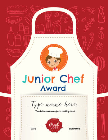Illustration for Kids Cooking class certificate design template with junior chef cartoon illustration on kitchen apron background - Royalty Free Image