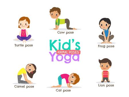 Illustration pour yoga kids poses cartoon illustration - image libre de droit
