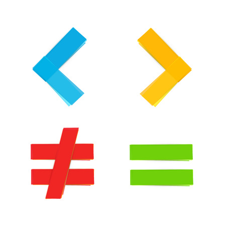 Illustration for basic colorful mathematical symbols equal less greater - Royalty Free Image