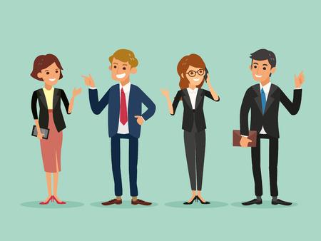 Illustration pour happy business people standing cartoon illustration - image libre de droit
