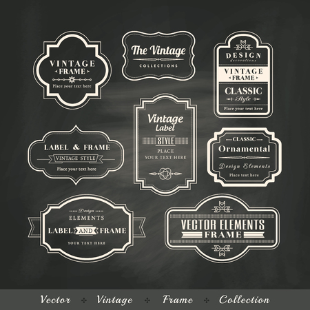 vintage frame set on chalkboard retro background calligraphic design elements