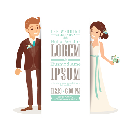 Wedding couple groom and bride cartoon on white background, Wedding invitation card template