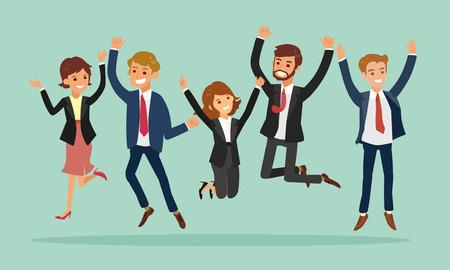 Illustration pour business people jumping celebrating success vector cartoon illustration - image libre de droit