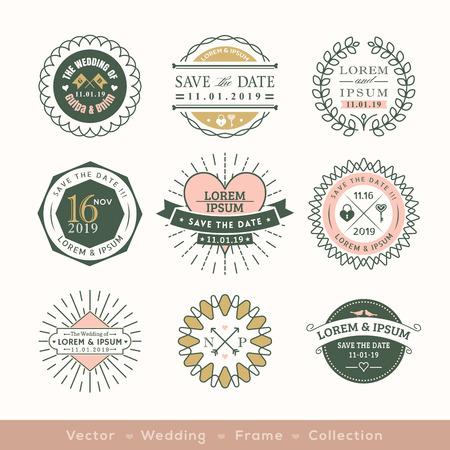 Illustration pour retro modern wedding logo frame badge vector design element - image libre de droit