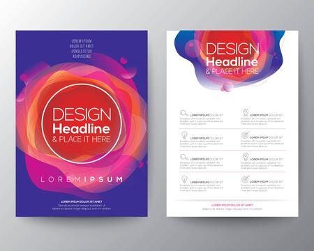 Illustration pour Modern abstract fluid circle shape with vivid and bright colors gradient on blue background for Brochure, Flyer, Poster, leaflet, Annual report, Book cover,  Graphic Design Layout template, A4 size - image libre de droit