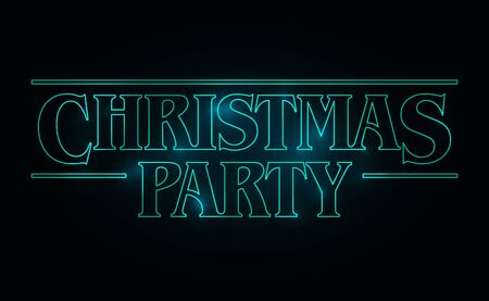 Illustration pour Christmas Party text design, Christmas word with green glow text on black background. 80's style, eighties design. Vector illustration - image libre de droit