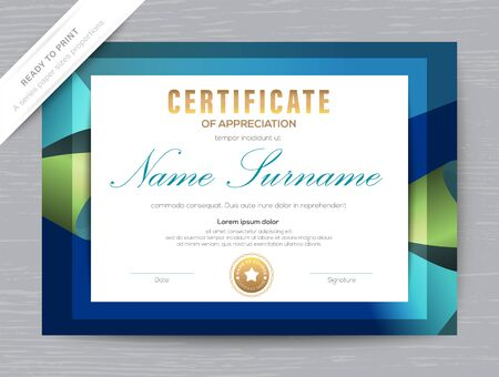Illustration for Certificate of Appreciation award diploma template. Dark blue background - Royalty Free Image