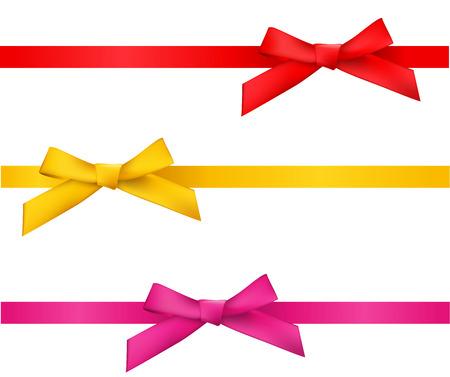 Ilustración de ribbon bows - red,gold,pink collection. isolated on white. - Imagen libre de derechos
