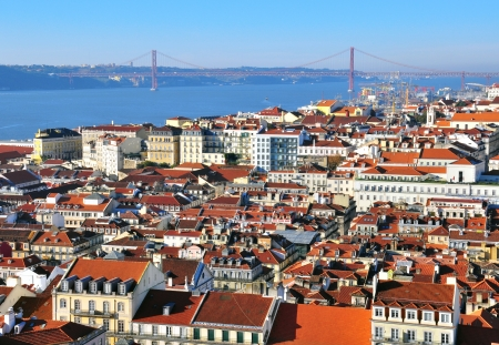 Panorama of Lisbon city center, Portugal