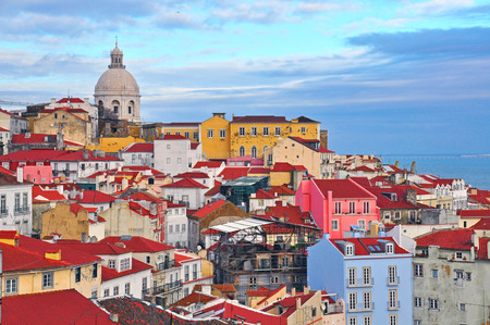 Colorful houses of Alfama district, Lisbon, Portugal