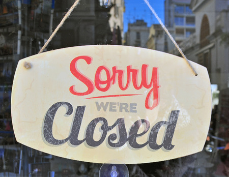 Closed sign in the street cafe