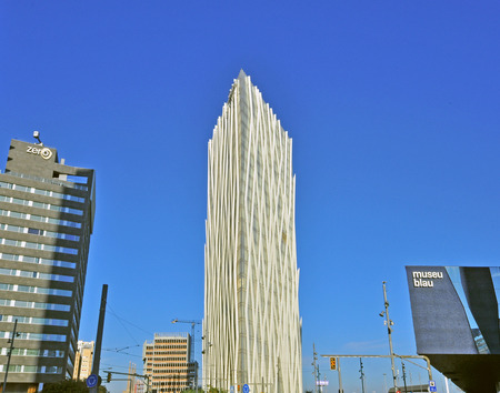 BARCELONA, SPAIN - DECEMBER 19: Skyscrapers of Barcelona on December 19, 2014. Barcelona is the secord largest city of Spain.
