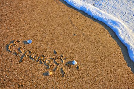 Spain sign on the beach
