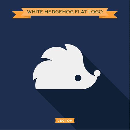 White hedgehog icon into flat, logo vectors