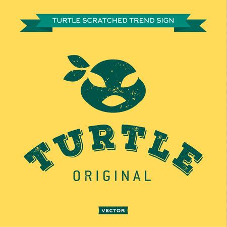Turtle mouth eye bandages green, muzzle, face, logo icon heros
