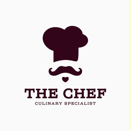 chef cook icon toque, chefs hat vector trend flat style brand mustache beard stylinga