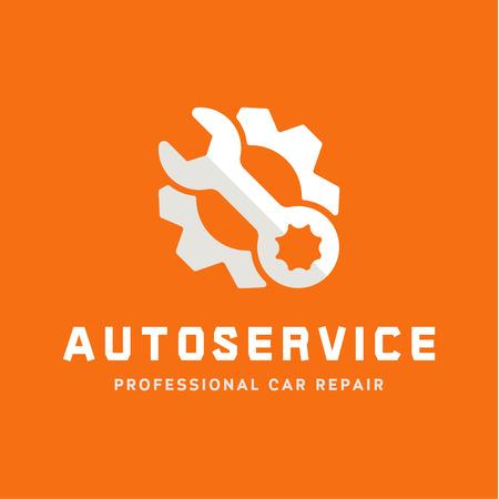Ilustración de Service auto repair, wrench, logo sign flat - Imagen libre de derechos