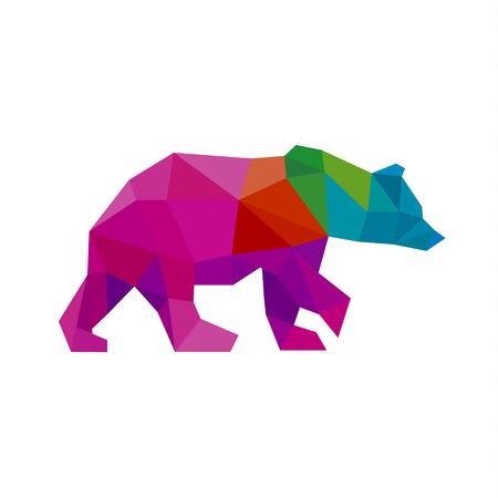Illustration pour Bear color polygon rainbow in low poly style vector art - image libre de droit